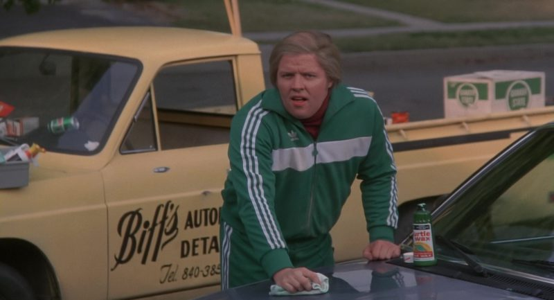 Turtle Wax and Adidas Tracksuit Worn by Thomas F. Wilson in Back to the Future (1985) - Movie Product Placement