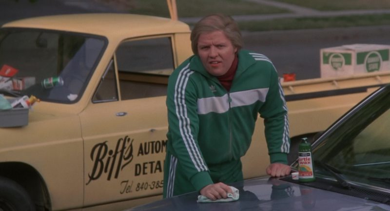 Turtle Wax and Adidas Tracksuit Worn by Thomas F. Wilson in Back to the Future (1985) Movie Product Placement