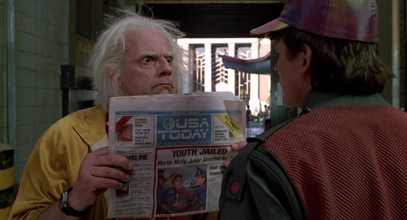 USA Today Newspaper Held by Christopher Lloyd (Dr. Emmett Brown) in Back to the Future Part 2 (1989) - Movie Product Placement