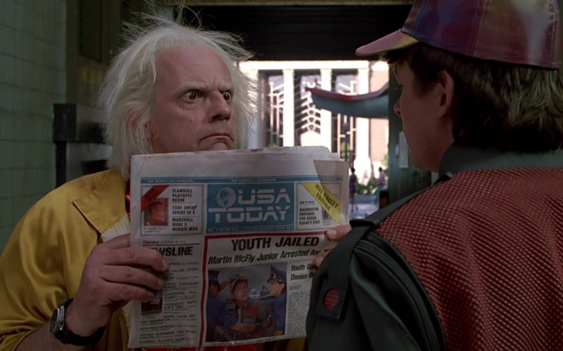 USA Today Newspaper Held by Christopher Lloyd (Dr. Emmett Brown) (1)