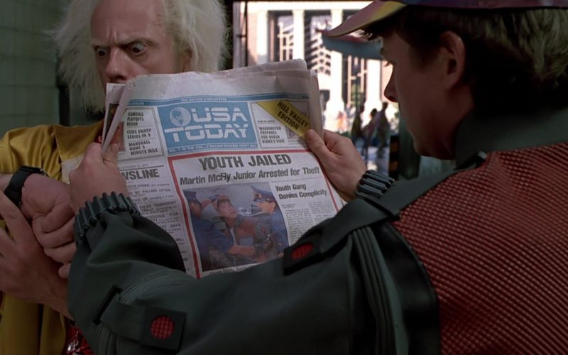 USA Today Newspaper Held by Michael J. Fox (Marty McFly) (1)
