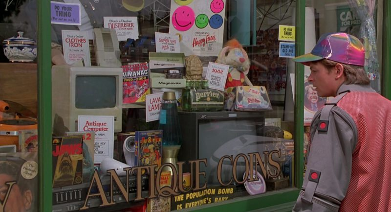 Apple Macintosh Computer, NES Jaws and BurgerTime Video Games, Magnavox Weekender, Perrier Water, JVC TV, JVC Camcorder, Black & Decker Clothes Iron and Dustbuster in Back to the Future Part 2 (1989) Movie Product Placement