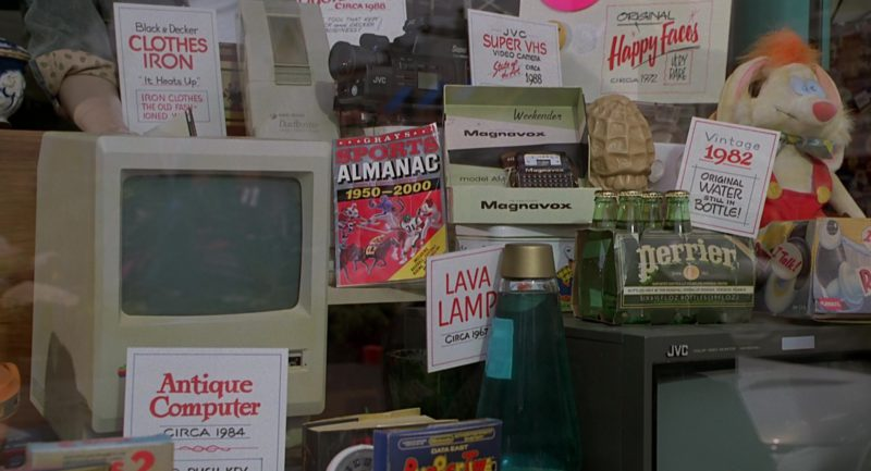 Apple Macintosh Computer, NES Jaws and BurgerTime Video Games, Magnavox Weekender, Perrier Water, JVC TV, JVC Camcorder, Black & Decker Clothes Iron and Dustbuster in Back to the Future Part 2 (1989) - Movie Product Placement