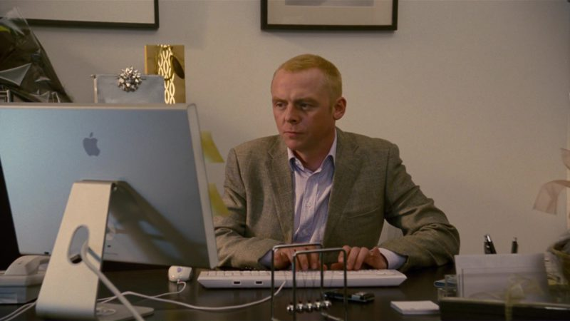 Apple Cinema Display Used by Simon Pegg in How to Lose Friends & Alienate People (2008) Movie Product Placement