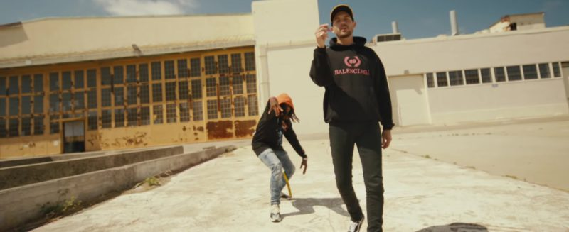 """Balenciaga Black Hoodie Worn by G-Eazy in """"Power"""" ft. Nef The Pharaoh, P-Lo (2018) Official Music Video Product Placement"""
