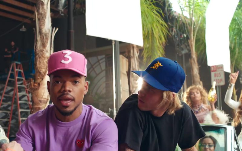 """5ef0b03aad7 Comme des Garçons Play Short Sleeve Logo T-Shirt and New Era Cap Worn by  Chance The Rapper in """"No Brainer"""" (2018)"""