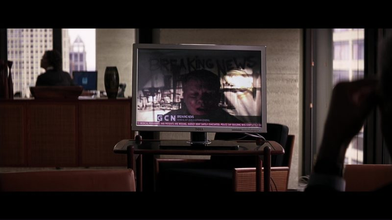 Dell TV Used by Morgan Freeman (Lucius Fox) in The Dark Knight (2008) - Movie Product Placement