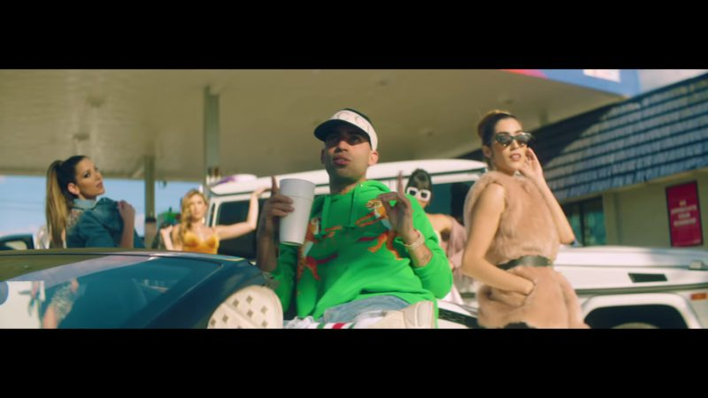 Gucci Green Hoodie and Cap Worn by Arcangel in Original (2018) ft.  Bad Bunny Latin Music Video Product Placement