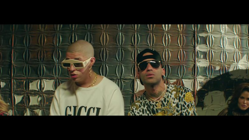 Gucci Sunglasses and Sweatshirt Worn by Bad Bunny in Original (2018) ft. Arcangel Latin Music Video Product Placement