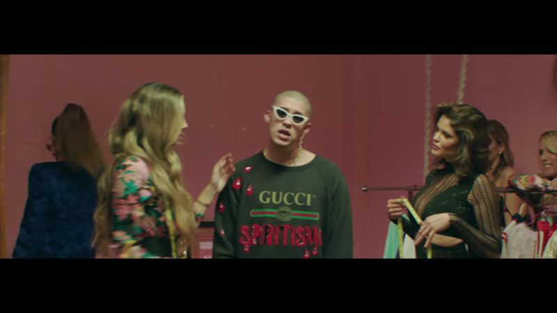 Gucci Sweatshirt (Khaki) Worn by Bad Bunny in Original (2018) ft. Arcangel Latin Music Video Product Placement