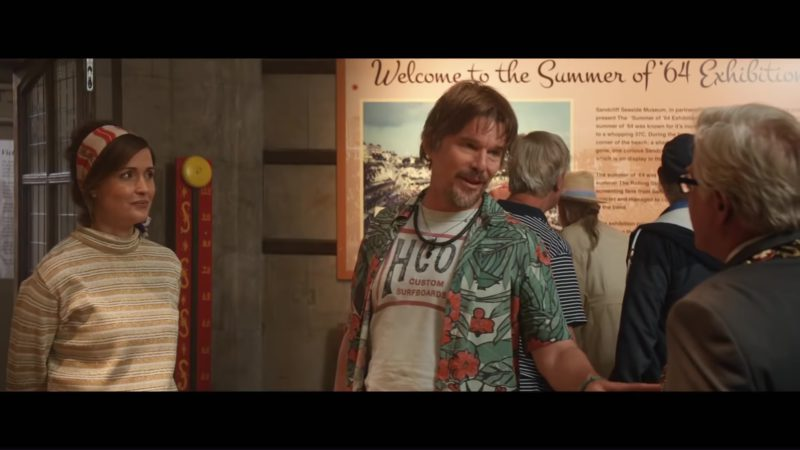 Hollister HCO Custom Surfboards T-Shirt by Ethan Hawke in Juliet, Naked (2018) Movie Product Placement