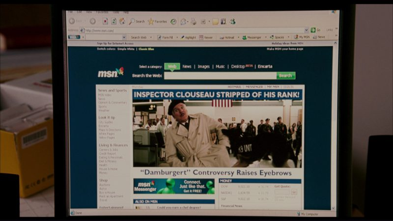 MSN Website in The Pink Panther (2006) - Movie Product Placement