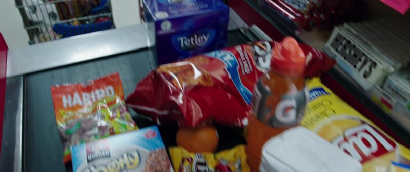 Tetley Tea, Doritos, Haribo Gummy Bears, Quaker Chewy Cocoa Chocolate Mint, Gatorade, Lay's Potato Chips in Overboard (2018) Movie Product Placement