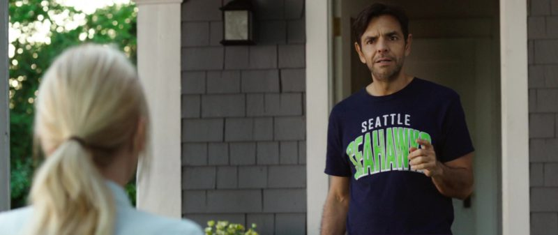 Seattle Seahawks Blue T-Shirt Worn by Eugenio Derbez in Overboard (2018) Movie Product Placement