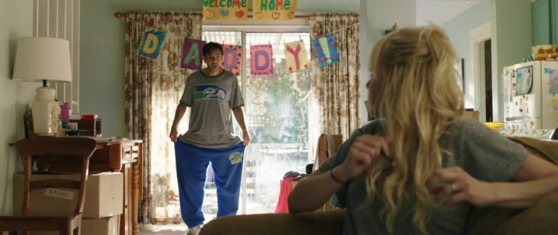 Seattle Seahawks T-Shirt and Blue Pants Worn by Eugenio Derbez in Overboard (2018) Movie Product Placement