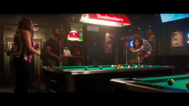 Budweiser Pool Table Lights in What Men Want (2019) Movie Product Placement