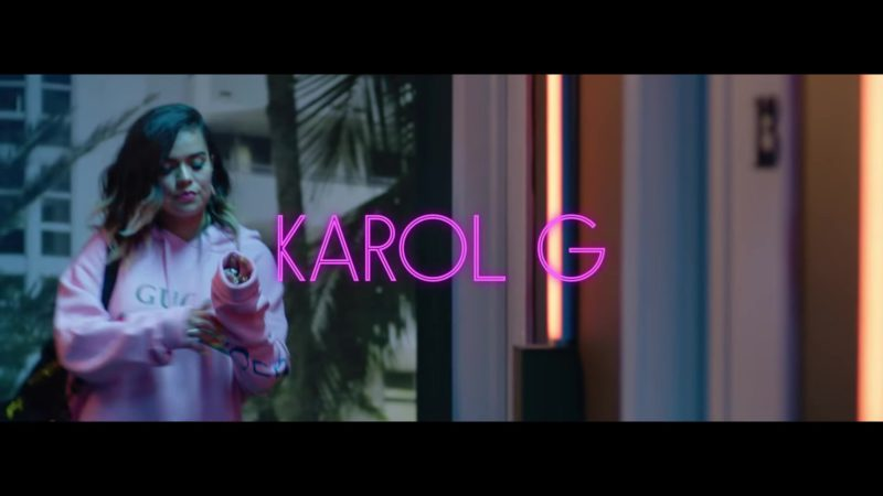 "Gucci Hoodie Dress Worn by Karol G in ""Mi Cama"" (Remix, 2018) Latin Music Video Product Placement"