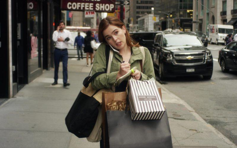Henri Bendel Paper Bag Held by Zoey Deutch in Set It Up