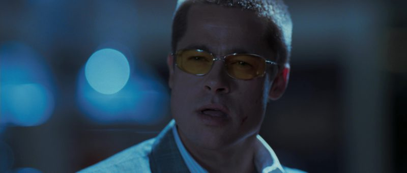 "Oliver Peoples ""Nitro"" Glasses With Yellow Lenses Worn by Brad Pitt in Mr. & Mrs. Smith (2005) - Movie Product Placement"