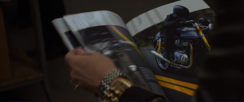 Triumph Bike Magazine Article in Ocean's 8 (2018) - Movie Product Placement