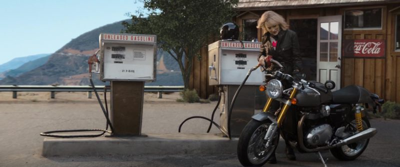 Triumph Motorcycle Used by Cate Blanchett and Coca-Cola Sign in Ocean's 8 (2018) - Movie Product Placement