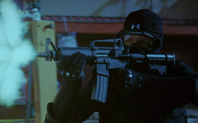 Under Armour Hood and Oakley Tactical Gloves in Mr. & Mrs. Smith