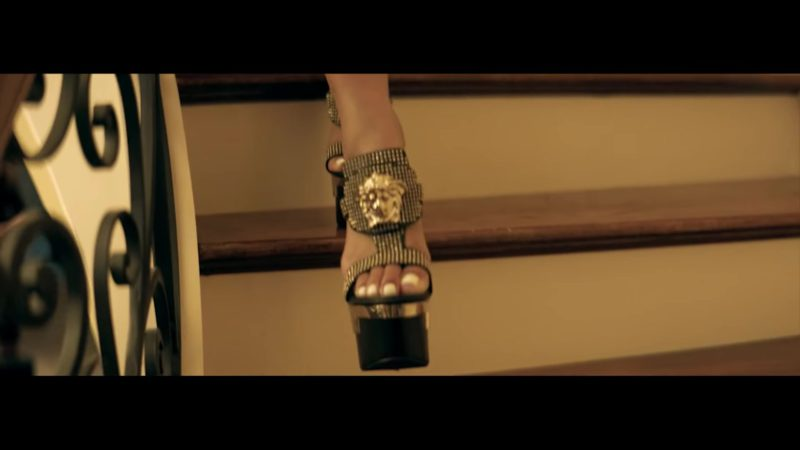 """Versace Studded Palazzo Platform Sandals Worn by Saweetie in """"Workin Me"""" by Quavo (2018) Official Music Video"""