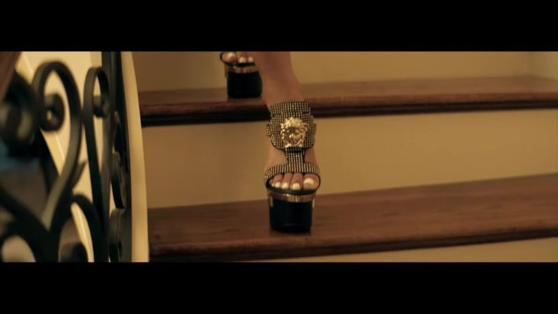 """Versace Studded Palazzo Platform Sandals Worn by Saweetie in """"Workin Me"""" by Quavo (2018) - Official Music Video Product Placement"""