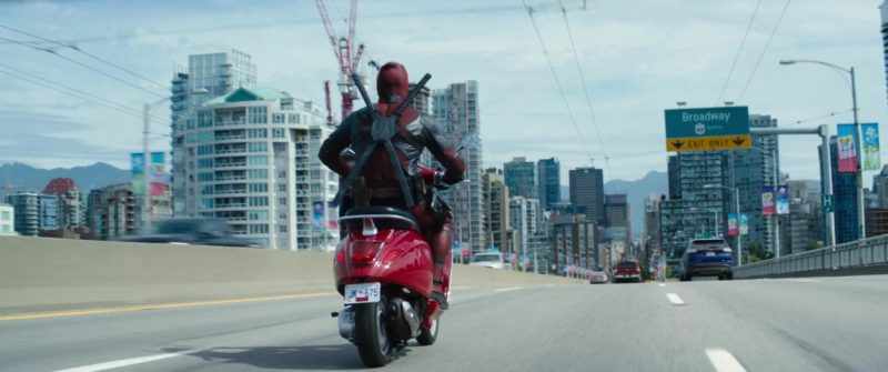 Vespa Scooter Used by Ryan Reynolds in Deadpool 2 (2018) Movie Product Placement