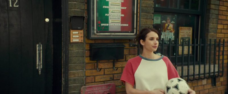 Adidas Soccer Ball Held by Emma Roberts in Little Italy (2018) Movie Product Placement