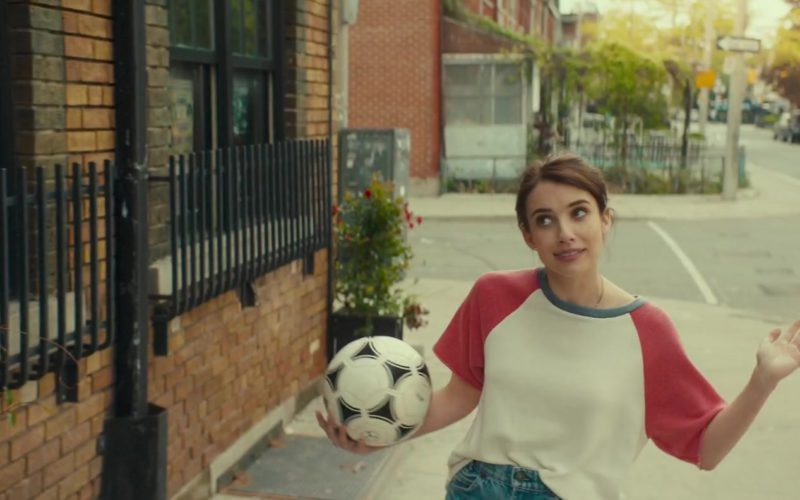 Adidas Soccer Ball Held by Emma Roberts in Little Italy (9)