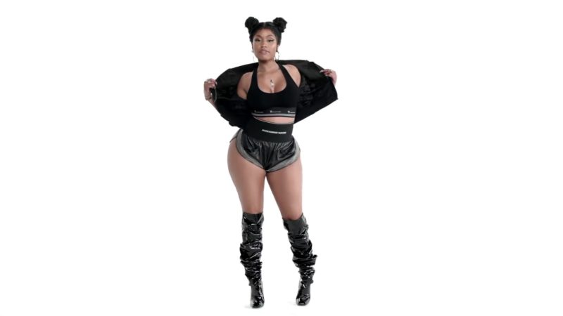 Alexander Wang Outfit (Black Bra and Shorts) Worn by Nicki Minaj in Barbie Tingz (2018) Official Music Video Product Placement