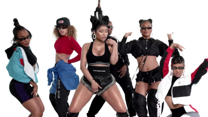 Alexander Wang Outfit (Black Bra and Shorts) Worn by Nicki Minaj in Barbie Tingz (2018) - Official Music Video Product Placement