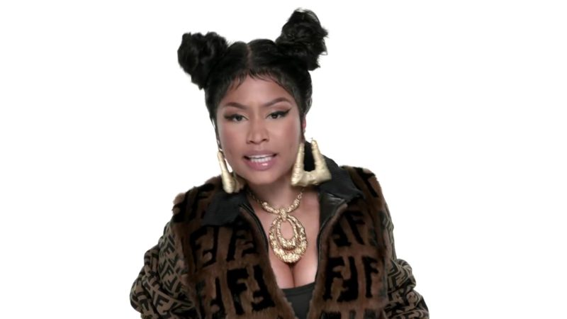 Fendi Fur Coat With FF Logo Worn by Nicki Minaj in Barbie Tingz (2018) Official Music Video Product Placement