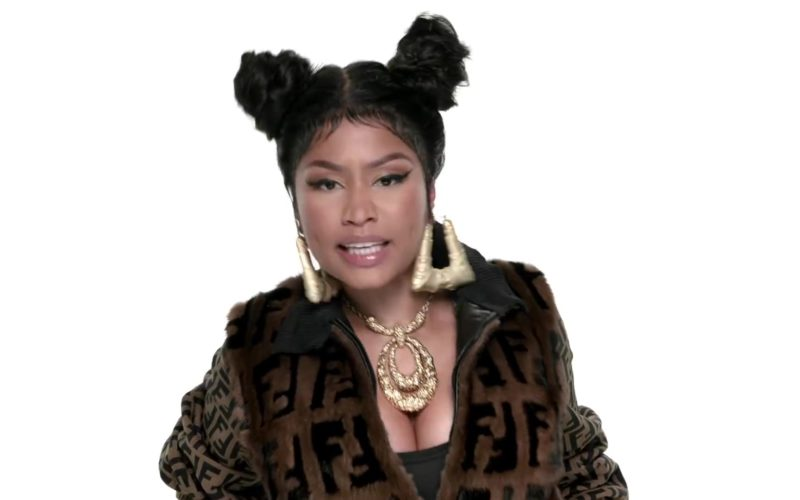 Fendi Fur Coat With FF Logo Worn by Nicki Minaj in Barbie Tingz (1)
