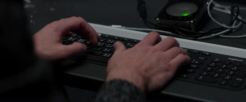 Logitech Keyboard in Skyscraper (2018) Movie Product Placement
