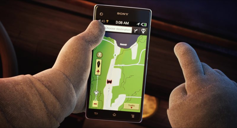Sony Xperia Smartphone Used by Murray the Mummy (Main Fictional Character) in Hotel Transylvania 2 (2015) Animation Movie Product Placement