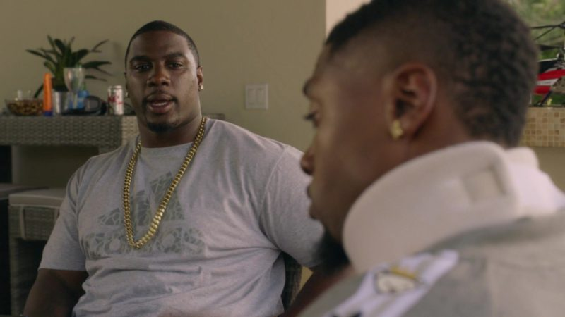 """Adidas Grey T-Shirt Worn by Donovan Carter (Vernon) in Ballers: Season 1, Episode 4, """"Heads Will Roll"""" (2015) TV Show Product Placement"""