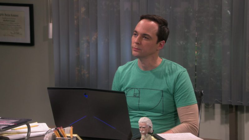 Alienware Laptop Used by Jim Parsons (Sheldon Cooper) in The Big Bang Theory Season 12 Episode 6: The Imitation Perturbation (2018) - TV Show Product Placement