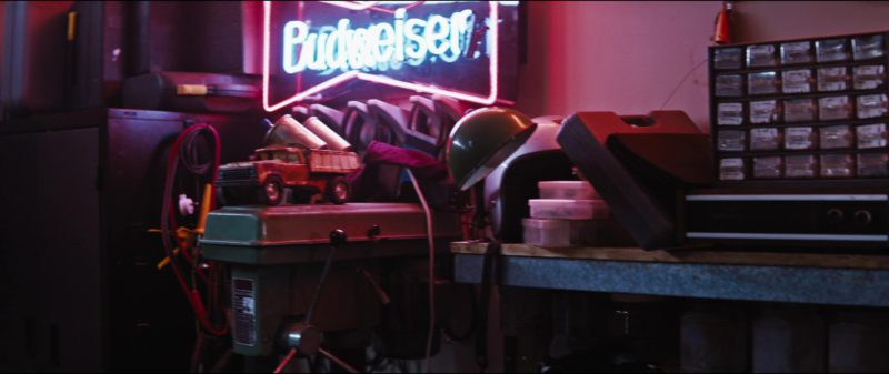 Budweiser Neon Sign in Upgrade (2018) - Movie Product Placement
