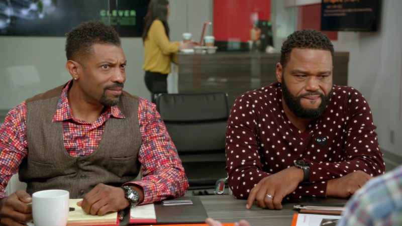 """Comme des Garçons Play Polka Dot Burgundy Sweater Worn by Anthony Anderson in Black-ish: Season 5, Episode 1, """"Gap Year"""" (2018) - TV Show Product Placement"""