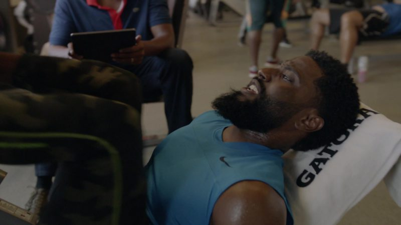 """Nike T-Shirt and Gatorade Anti-Microbial Towel Used by John David Washington in Ballers: Season 1, Episode 7, """"Ends"""" (2015) TV Show Product Placement"""
