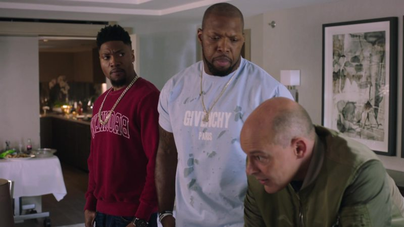 "Givenchy Paris Men's Blue T-Shirt in Ballers: Season 4, Episode 8, ""The Devil You Know"" (2018) TV Show Product Placement"