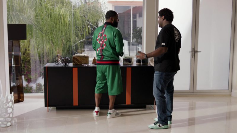 """Gucci Jacket and Shorts and White Shoes Worn by John David Washington in Ballers: Season 3, Episode 9, """"Crackback"""" (2017) - TV Show Product Placement"""