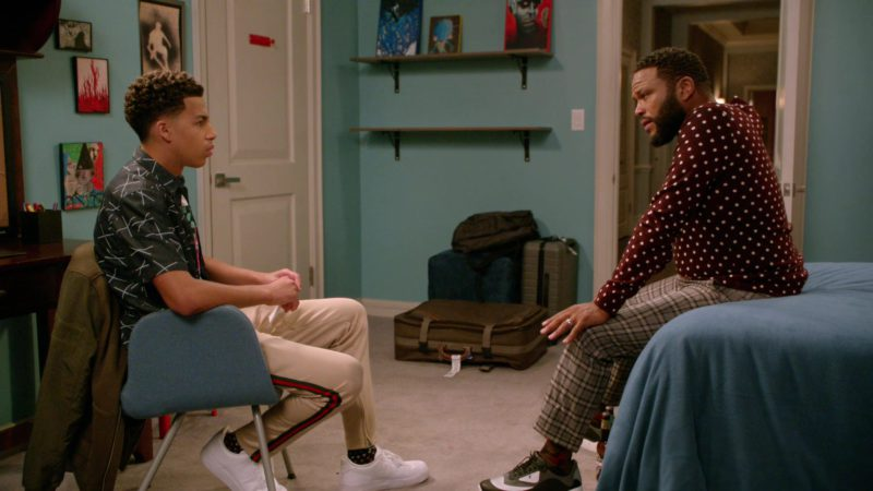 "Gucci Men's Pants Worn by Marcus Scribner in Black-ish: Season 5, Episode 1, ""Gap Year"" (2018) - TV Show Product Placement"