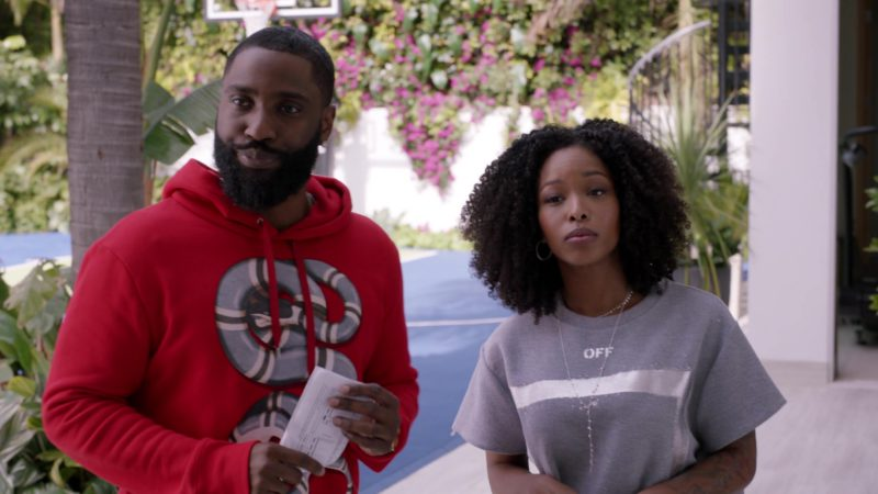 """Gucci Red Hoodie with Snake Design Worn by John David Washington (Ricky) in Ballers: Season 3, Episode 3, """"In the Teeth"""" (2017) TV Show Product Placement"""