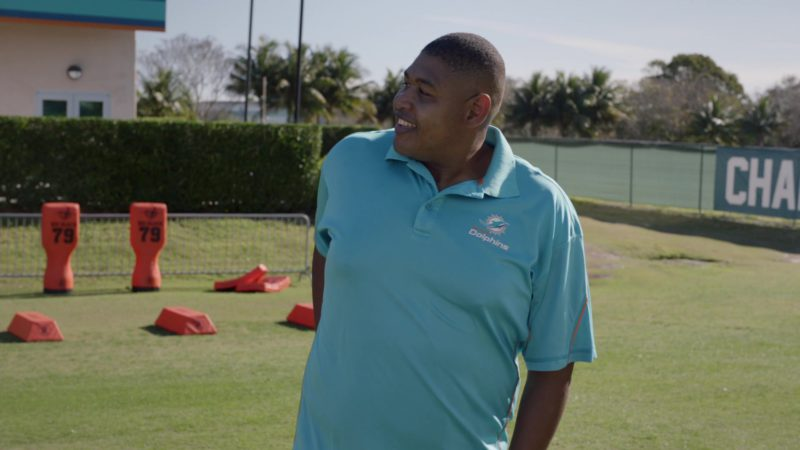 """Miami Dolphins American football team polo shirt worn by Omar Benson Miller in Ballers: Season 2, Episode 10, """"Game Day"""" (2016) - TV Show Product Placement"""