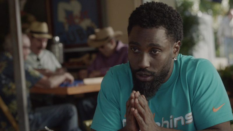 "Miami Dolphins x Nike T-Shirt Worn by John David Washington in Ballers: Season 1, Episode 10, ""Flamingos"" (2015) TV Show Product Placement"