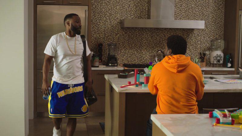 "NBA Golden State Warriors Basketball Team Shorts Worn by John David Washington in Ballers: Season 4, Episode 4, ""Forgiving Is Living"" (2018) TV Show"