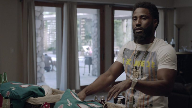 "NFL Miami Dolphins Jerseys Held by John David Washington (Ricky) in Ballers: Season 1, Episode 8, ""Gaslighting"" (2015) - TV Show Product Placement"